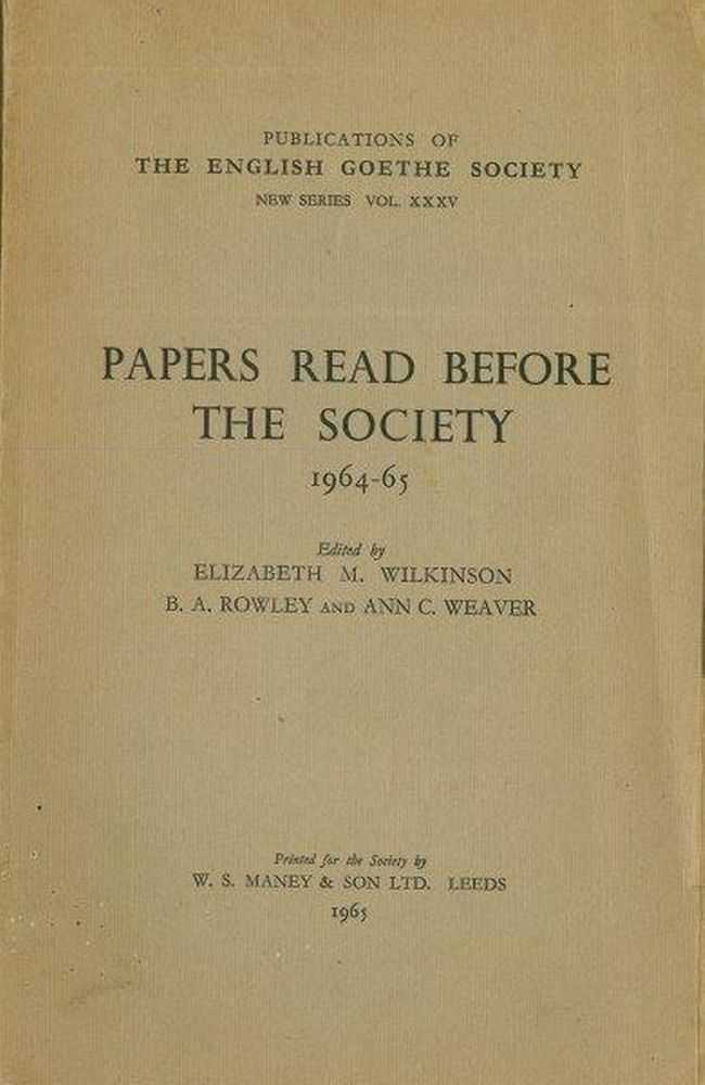 Image for Papers Read before The Society 1964-65 [Publications of The English Goethe Society New Series XXXV]