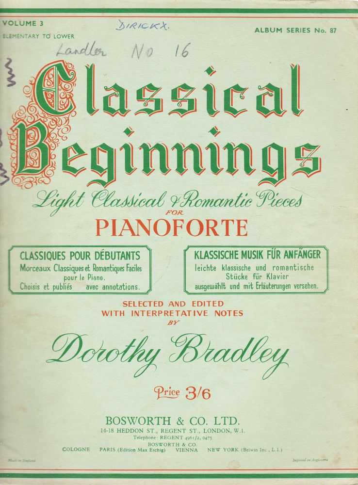 Image for Classical Beginnings Light Classical and Romantic Pieces For Pianoforte