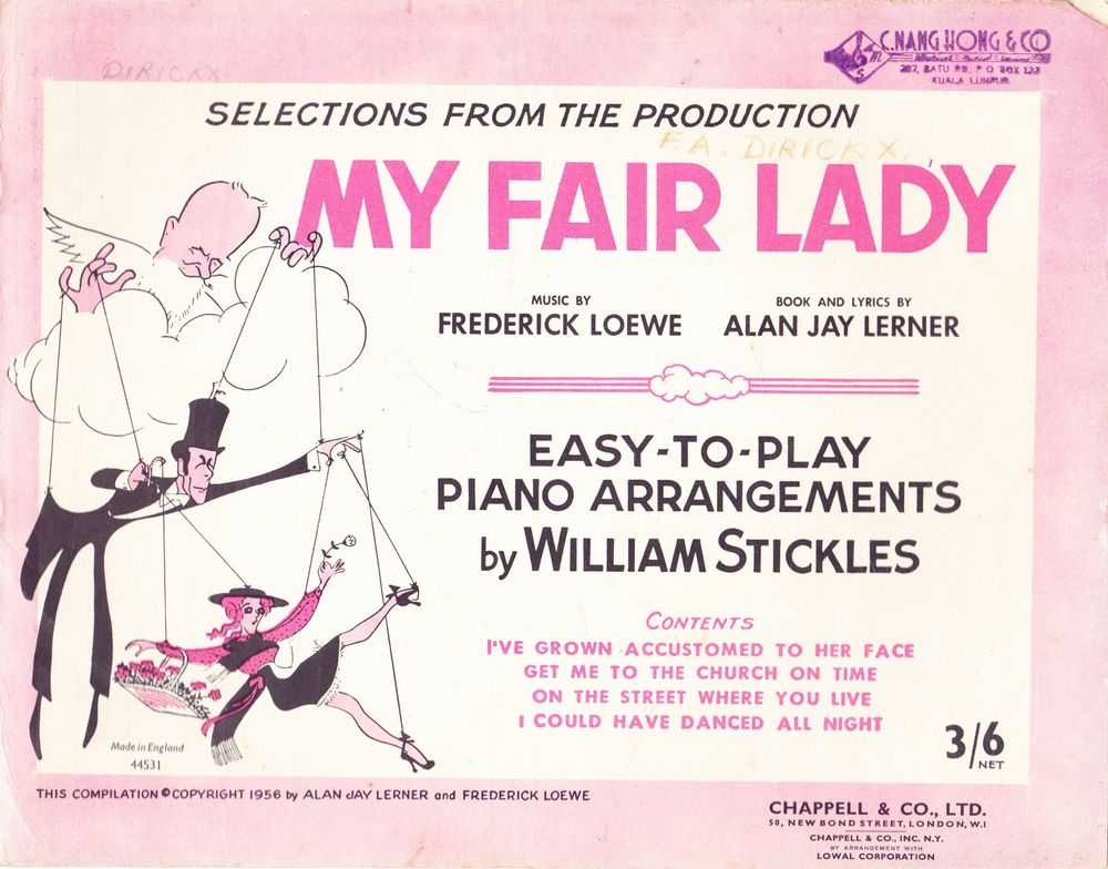 Image for Selections From The Production My Fair Lady - Easy To Play Piano Arrangements By William Stickles