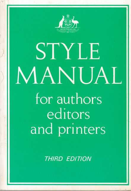 Image for Style Manual for Authors, Editors and Printers of Australian Government Publications