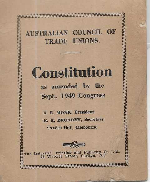 Image for Constitution as Amended by the Sept 1949 Congress