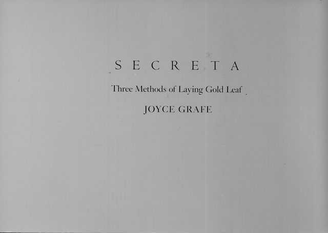 Image for Secreta: Three Methods of Laying Gold Leaf