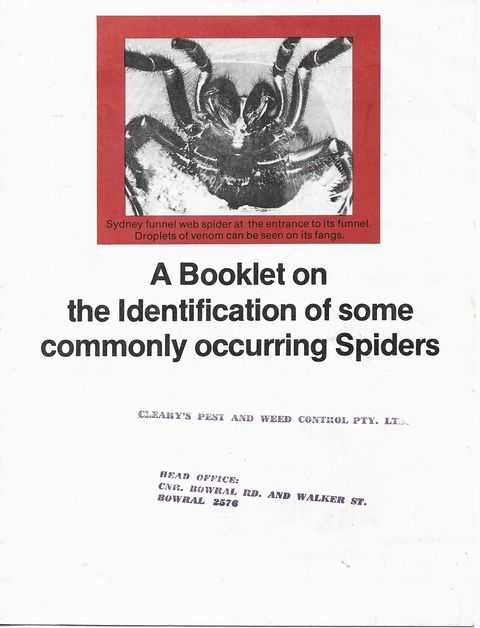 Image for A Booklet on the Identification of some Commonly Occurring Spiders